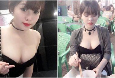 好想咬一口!越南巨乳妹穿這樣在外面吃飯 抬頭一看... 「麻糬Q奶」都快彈出來惹