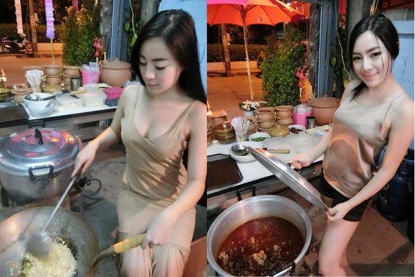 泰國妹Rot Jib穿細肩帶做菜…被封「最辣老闆娘」爆紅後成模特兒